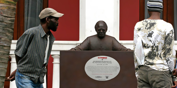 Sunday Times Heritage Project memorial to Archbishop Desmond Tutu, chairperson of the TRC, outside the city hall in East London